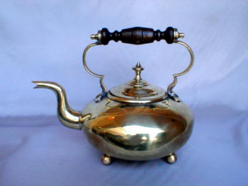 Handsome English Brass Tea Pot with Russian Style Wooden Handle