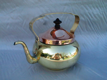 Beautiful Gold Brass Samovar Tea Pot with Copper Lid