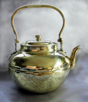 Elegant Antique Brass Tea Pot