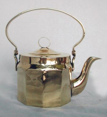 Russian Brass Teapot with Faceted Panels