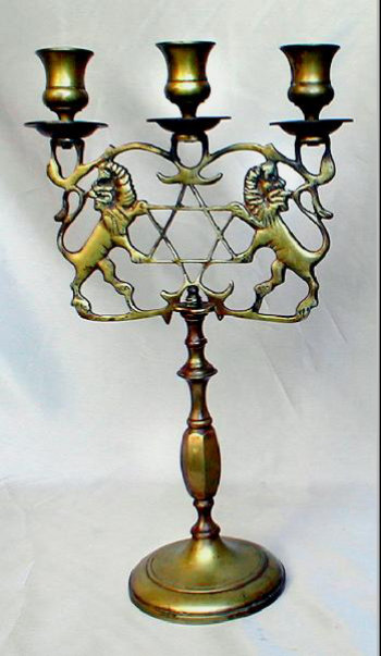 Three Light Antique Sabbath Candelabra - see C-21 for Pair