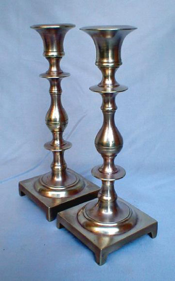 Antique Cast Brass Sabbath Candlesticks