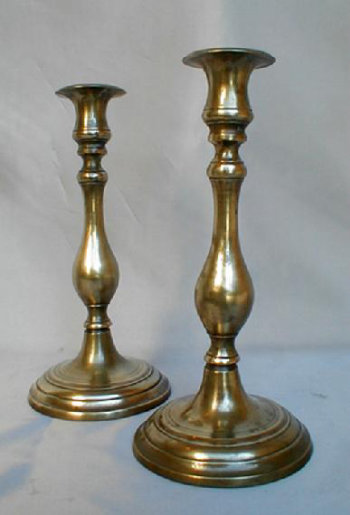 Polish Cast Yellow Brass Sabbath Candlesticks