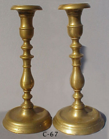 Late 18th/Early 19th Century Brass Sabbath Candlesticks