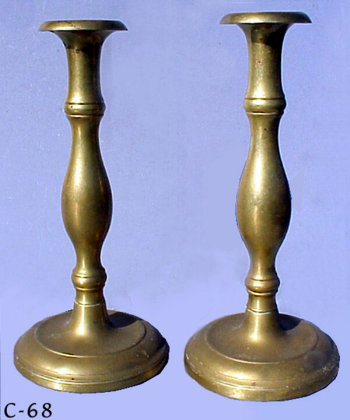 Early 19th Century Brass Sabbath Candlesticks
