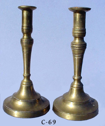 Late 18th Century Brass Sabbath Candlesticks