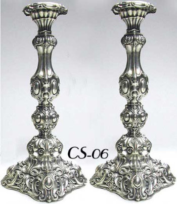 Pair of Lavishly Decorated Antique Silver Sabbath Candlesticks