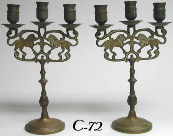 Pair of Sabbath Candelabra with Lions of Judea