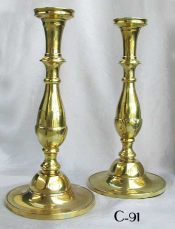 Pair of Brass Sabbath Candlesticks