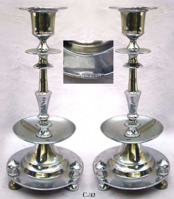 Silvered Brass Candlesticks
