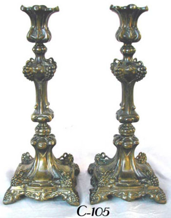 Brass Grapevine Candlesticks with Original Dark Patina