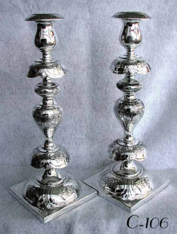 Pair of Classic Polish Petticoat Style Silver-Plated Sabbath Candlesticks