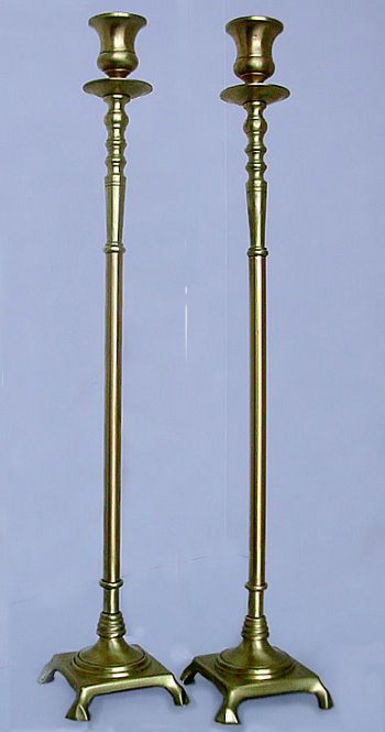 Tall Brass Sabbath Candlesticks
