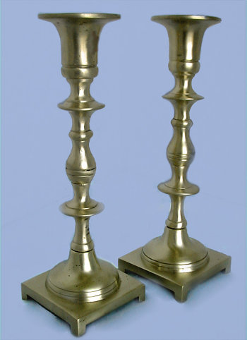 Antique Brass Candlesticks with Hand Turned Screws