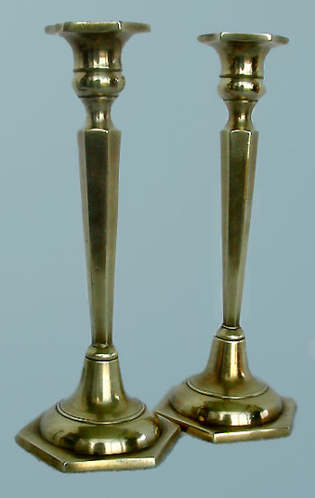 Brass Candlesticks with Faceted Stems