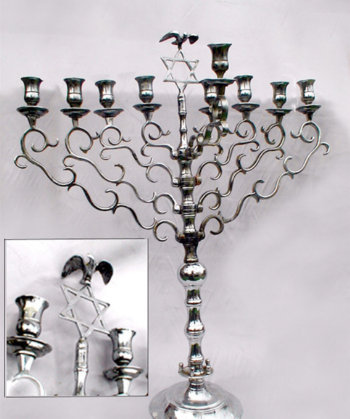 Grand Antique Polish Chanukah Menorah