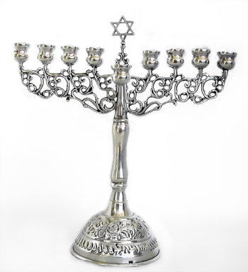 19th Century German Silver Menorah with Removable Shamus
