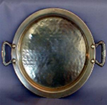 Small Round Hammered Trays with Handles