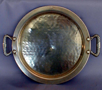 Large Hammered Circular Tray with Handles