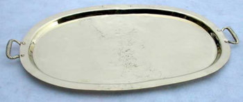 Oval Brass Tray with Decorative Peened Handles