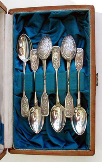 Six Matching Antique Russian Silver Spoons