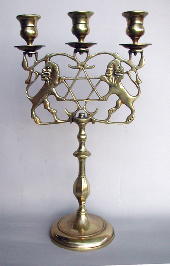 Three Light Sabbath Candelabrum with Lions of Judea