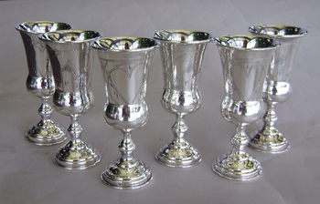 Matching set of 4 Russian Silver Kiddush Goblets with Heart decoration