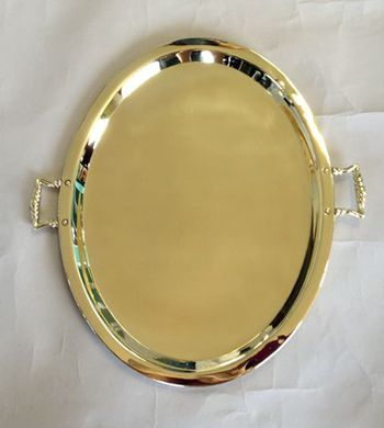 Oval Antique Rusian Samovar Tray with Handles