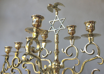Magnificent Antique Synagogue Menorah topped with Star and Polish Eagle