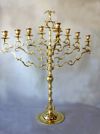 Magnificent Antique Synagogue Menorah with Star and Polish Eagle