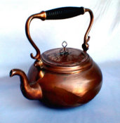 Hand Made Copper Tea Pot with Ribbed Wooden Handle