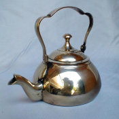 Diminutive Cast Brass Samovar Tea Pot with Trefoil Handle