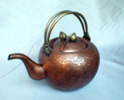 Exquisite Chinese Copper Tea Pot with Double Bail Brass Handles