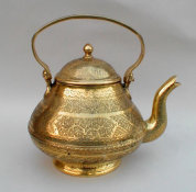 Magnificent And Rare Periform Cast Brass Kettle