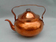 Flame Coloured Plannished Copper Samovar Tea Pot