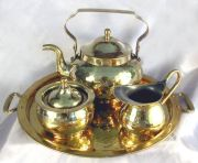 Hand-Hammered Brass Tea Set