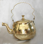 Brass Teapot with Chiseled Floral Motif