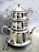 Silvered antique Stacking Samovar Tea Set