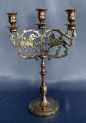 Polish Cast Brass Three Light Sabbath Candelabra