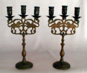 Three Light Antique Sabbath Candelabra