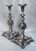 German Silver Plated Sabbath Candlesticks