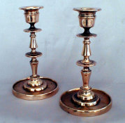 Pair of Rare Russian Bronze Sabbath Candlesticks