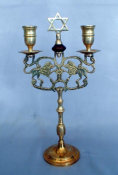 Two-Light Antique Brass Sabbath Candelabra