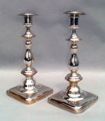 Polish Streamlined Silvered Sabbath Candlesticks
