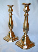 Cast Yellow Brass Sabbath Candlesticks