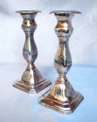Silverplated Diminutive Sabbath Candlesticks