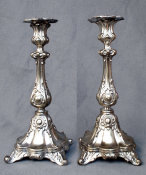 Polish Silver Plated Sabbath Candlesticks
