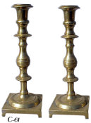 Mid 19th Century Heavyweight Brass Sabbath Candlesticks