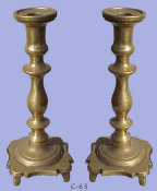 Late 18th/Early 19th Century Massive Brass Sabbath Candlesticks