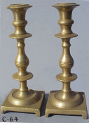 Mid 19th Century Brass Sabbath Candlesticks